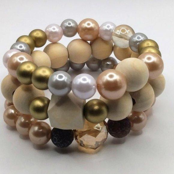 Natural Wood Chunky Bracelet Set-Large Wooden Bead Bracelet